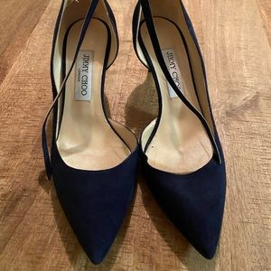 Jimmy Choo Navy Suede Pointy Toe pumps